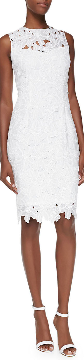 Carmen Marc Valvo Sleeveless Floral Lace Sheath Dress in Ivory