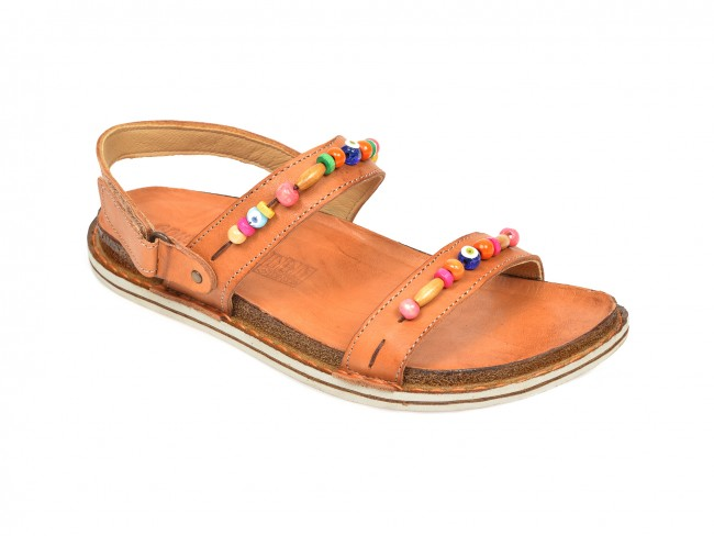 Sandale dama de vara cu talpa joasa din piele naturala maro la reducere