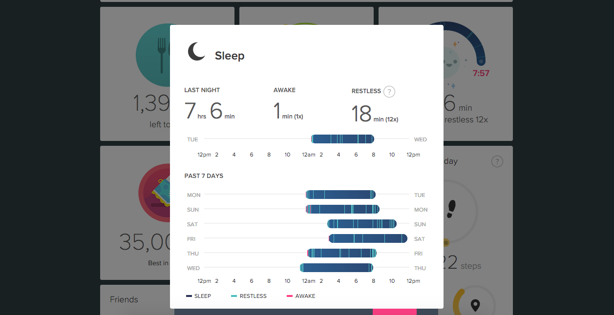 fitbit sleep length quality screenshot