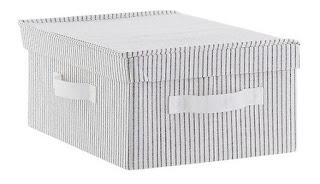 Ticking stripe storage box