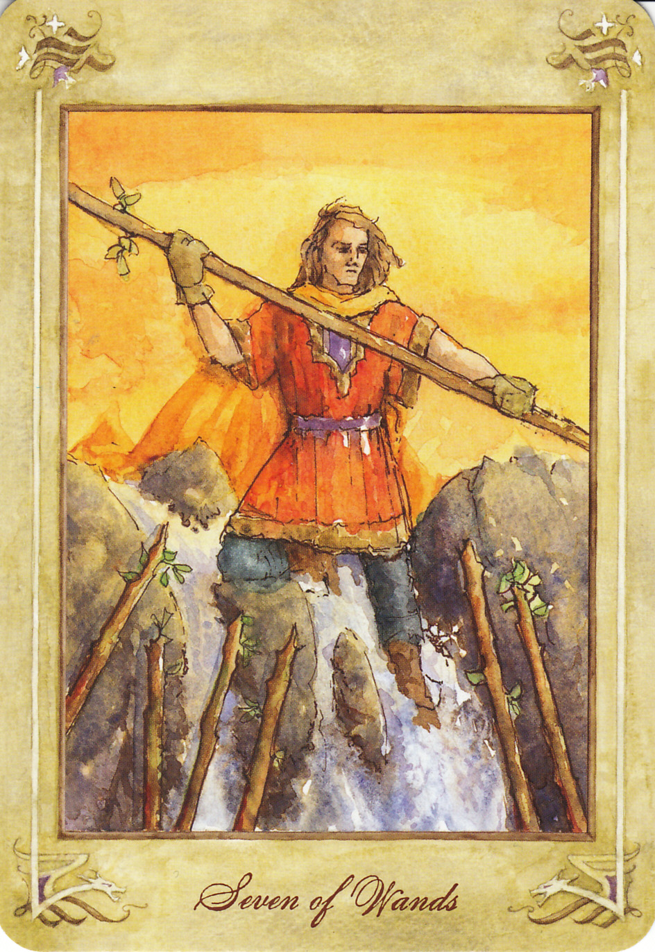Rowan Tarot December 2012: Rowan Tarot: Go For It -- Seven Of Wands