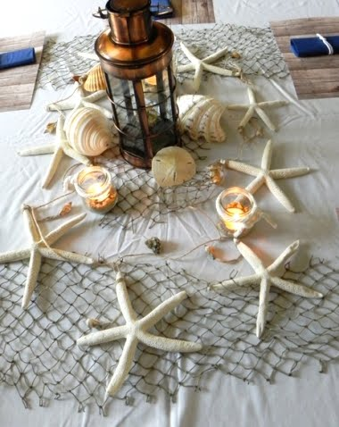 Nautical tablescape decor ideas with decorative fish net for Net decoration ideas