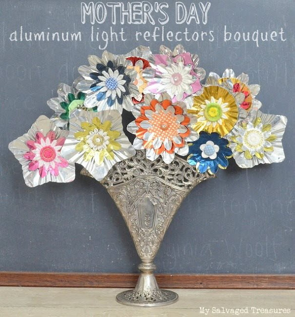 how to make flowers with vintage aluminum light reflectors