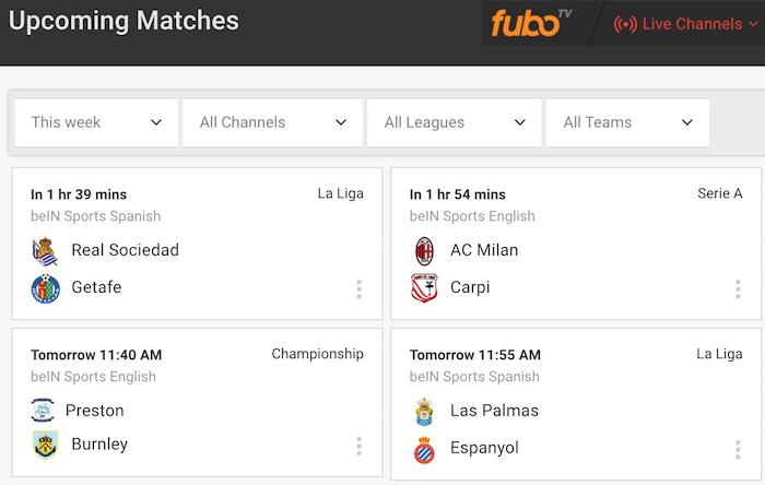 FuboTV Live Soccer Matches