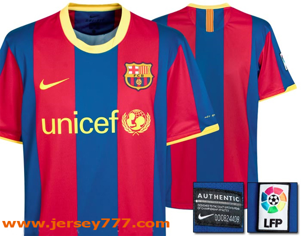 451828217 This is the official FC Barcelona home kit for the 2010 11 season  manufactured by Nike