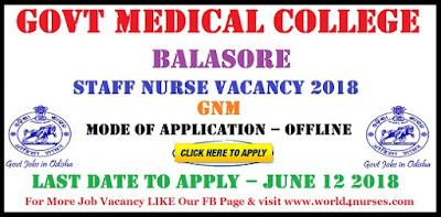 Govt Medical College Balasore Staff Nurse Vacancy 2018