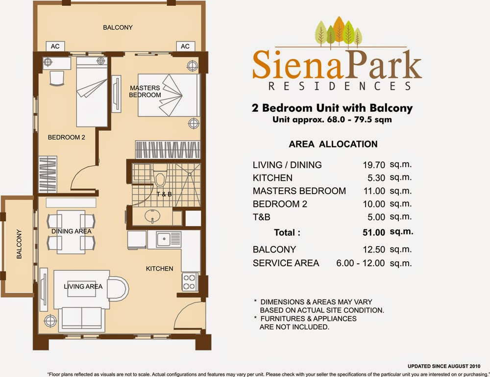 Siena Park Residences 2-Bedroom Unit 51.00 sqm