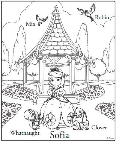 Tranh cho bé tô màu công chúa Sofia 09