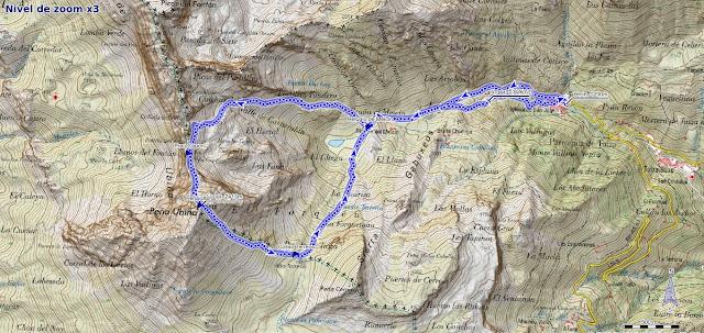 Mapa de la Ruta a Peña Ubiña por la Arista Norte y Canal de la Fana