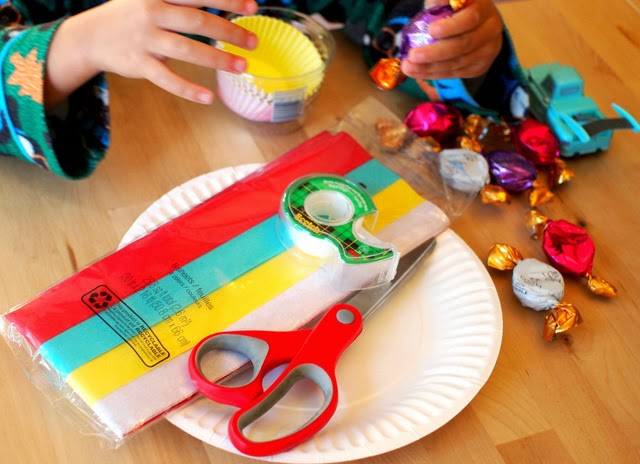 Gather materials to make your kid made chocolate gift.