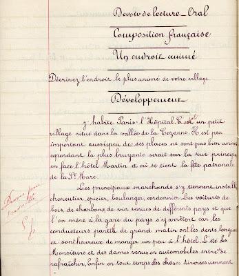 Cahier de devoir Le Calligraphe Librairie D. Nourry M. Guignard successeur à Autun, élève Adrienne G., âgée de 12 ans, cours supérieur, 1911 (collection musée