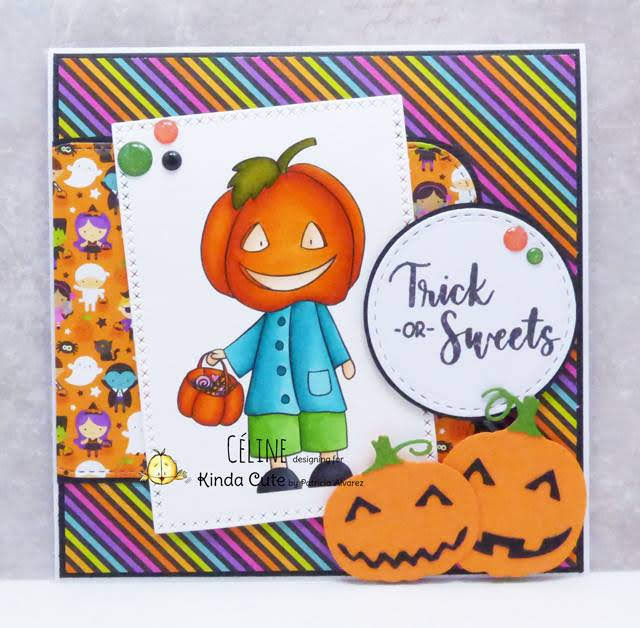 Halloween card using Pumpkin head digital stamp