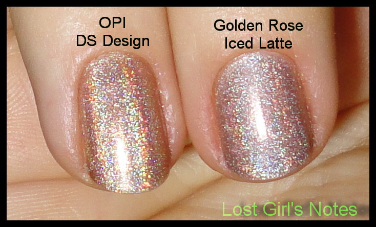 Golden Rose Holographic Iced Latte Swatches And Comparison With Opi Ds Design Lost Girl S Notes