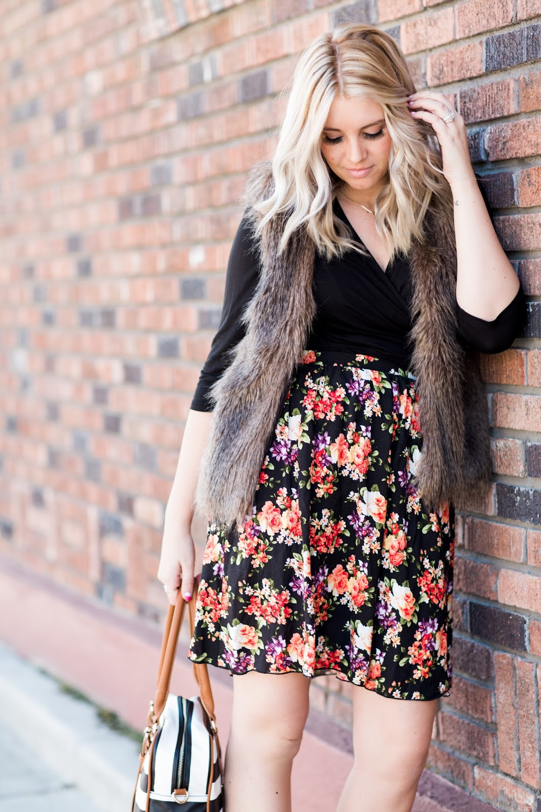 Udderly Hot Mama, Fur Vest, Floral Skirt, Modest Fashion Blogger