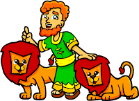 This is an illustration of Daniel and the lions. The style is very juvenile and friendly.""