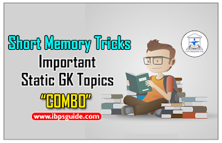 """Short Memory Tricks on Important Static GK Topics for IBPS Exams 2017 """"COMBO""""- Download in PDF"""