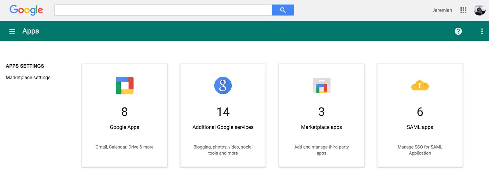 """Vista desde el panel de """"Apps"""" en Google que lleva a mostrar con cuales nuevas plataformas podrás hacerte Google login."""