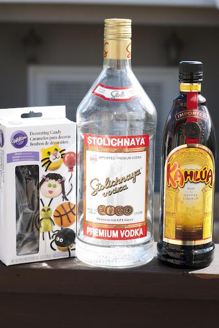 Halloween cocktail, shot, vodka, coffee liqueur