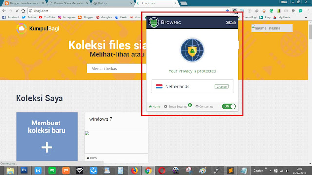 Tampilan add on Browsec pada browser Google Chrome bagus