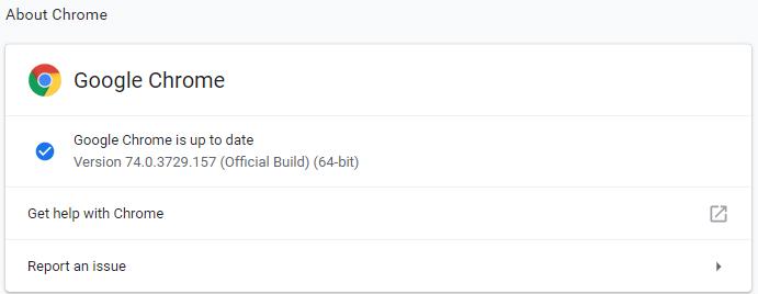 Google Chrome 74.0.3729.157