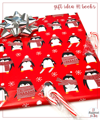 Picture of wrapped book with bow and candy cane