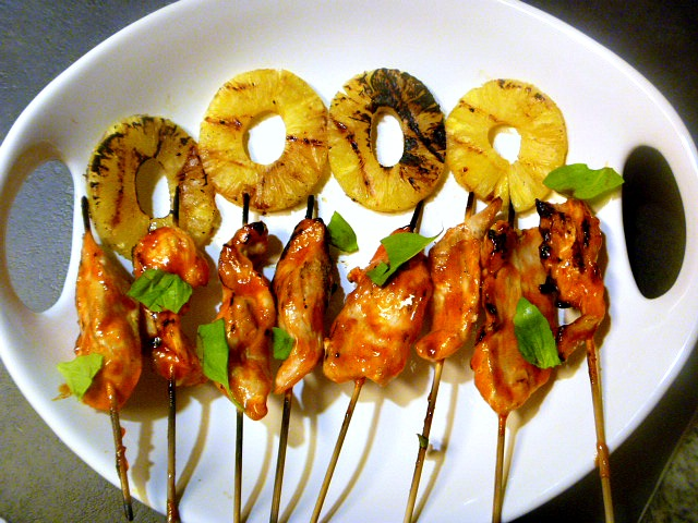 Break out the grill!  This Spicy Thai Chicken Satay with Grilled Pineapple cooks quickly on a grill and has a sweet and spicy beautiful glaze.  Slice of Southern