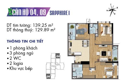 căn hộ 04 và 09 sapphire 1