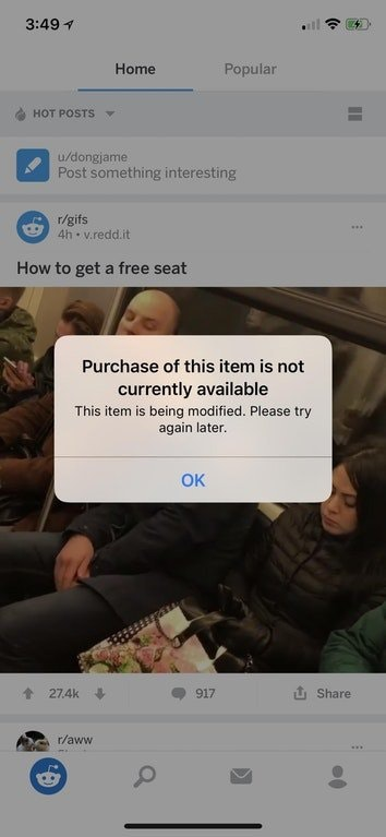"iPhone X , iPhone 8 popup: ""Purchase of this item is not"