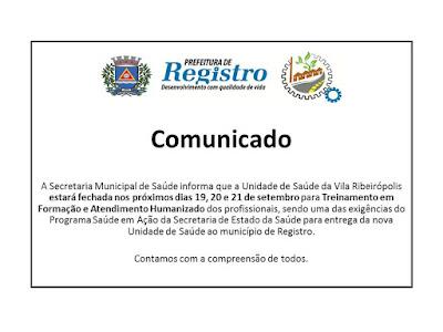 Posto de Saúde Ribeirópolis em Registro-SP, fechado para treinamento