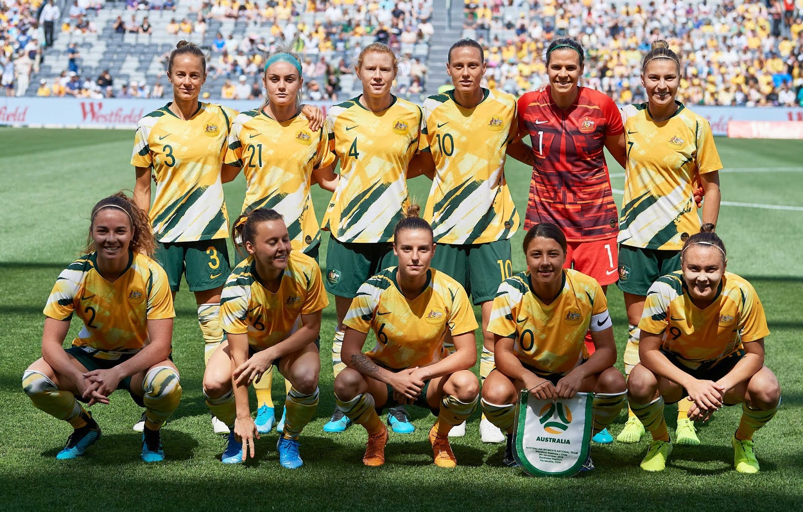 Formación de selección femenina de Australia ante Chile, amistoso disputado el 9 de noviembre de 2019