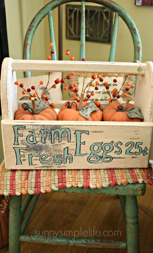 farm fresh, egg box, prim pumpkins, Fall Farmhouse Kitchen Decorating Ideas