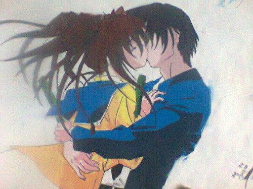 Anime Couple Cuddling Art simple easy step by step
