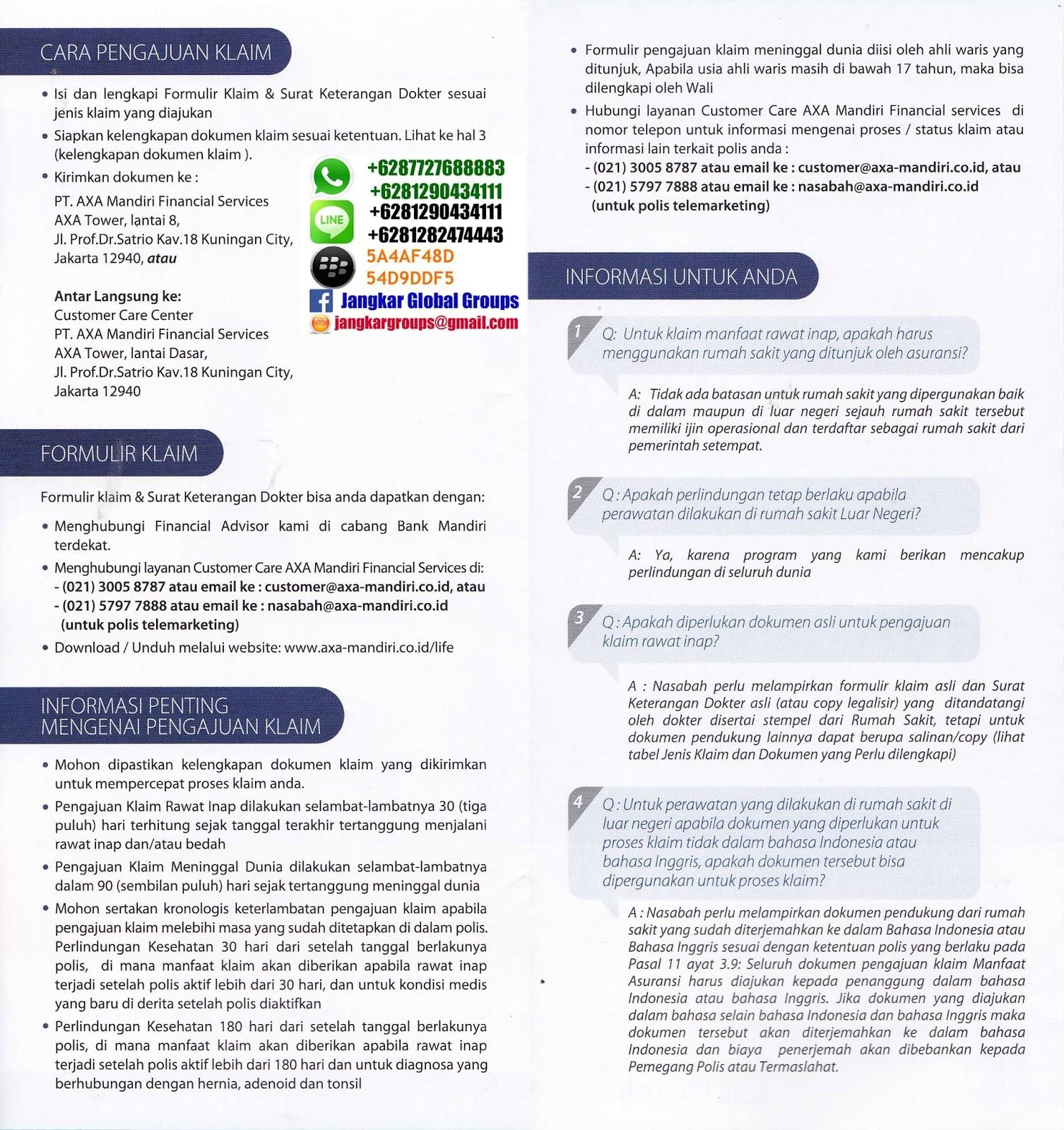 Jangkar Groups: KLAIM ASURANSI AXA MANDIRI