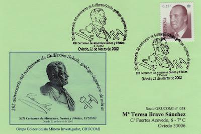 Tarjeta del matasellos del 202 aniversario del nacimiento de Guillermo Schulz durante el XIII Certamen de Minerales, gemas y fósiles de la Escuela de Minas de Oviedo
