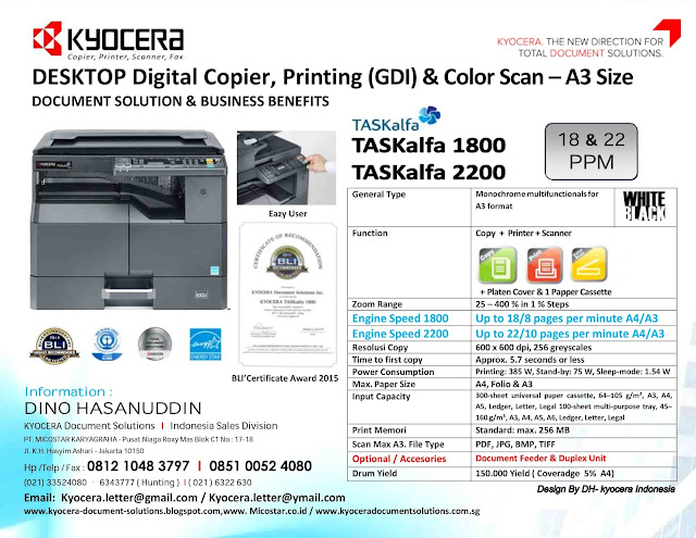 KYOCERA BIG PROMO TASKalfa 1800 & TASKalfa 2200 & Full