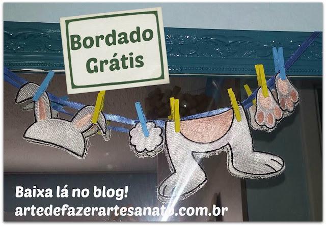 Bordado Grátis - Patch Aplique Varal de Coelho