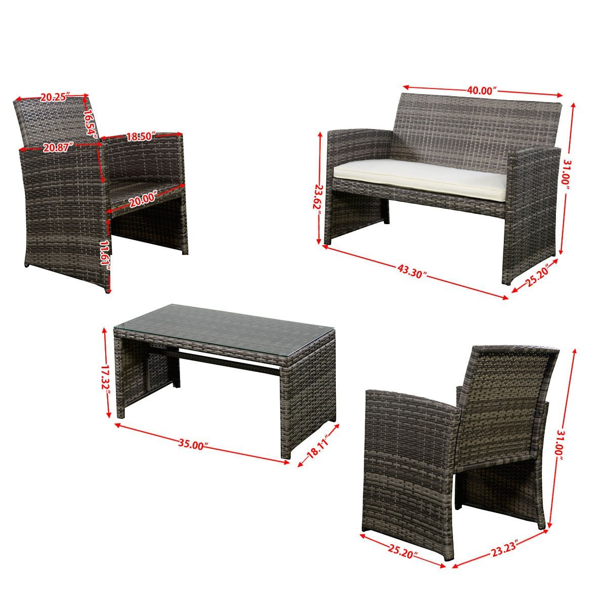 Outdoor Garden Patio 4 Piece Cushioned Seat Mix Gray