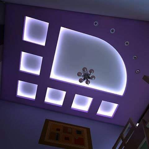 POP Design False Ceiling Designs For Living Room Hall With LED Indirect  Lights