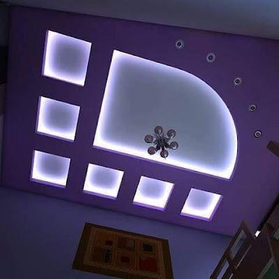 POP design false ceiling designs for living room hall with LED indirect lights