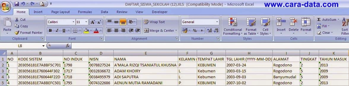 Cara Download dan Upload Data Siswa secara Kolektif di Padamu Negeri Langkah Kedua- Cara Pengaturan Jadwal Kelas Mingguan Padamu Negeri 2015