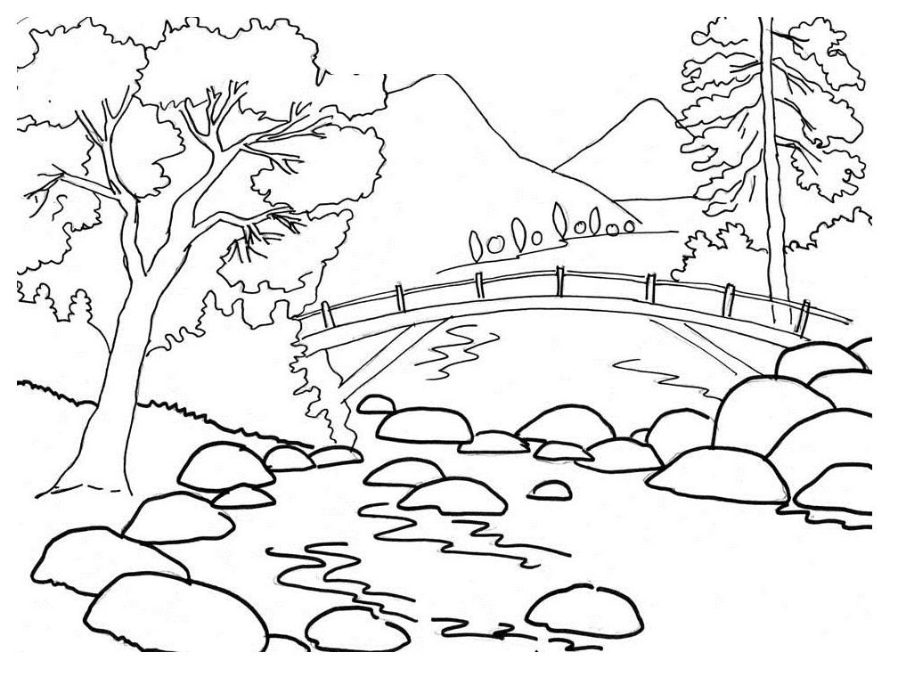 river coloring pages printable - universul copiilor imagini de colorat peisaje