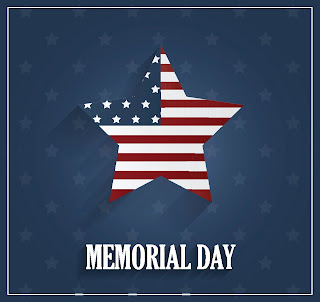 poster with a star with American flag design.  text: memorial day.