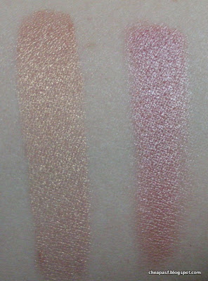 "Comparison swatches of e.l.f. Baked Eyeshadow in Enchanted and ""eyelid"" shade from Wet N Wild Coloricon trio in Sweet As Candy"