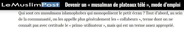 Le muslim Post considère comme des traîtres les français d'origine maghrébine qui ne leur correspondent pas.