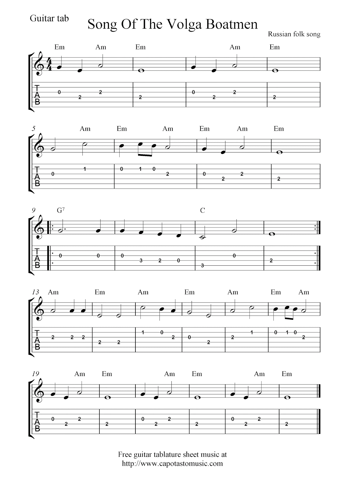 photo relating to Printable Tablature referred to as Very simple totally free guitar tab sheet audio rating, Track Of The Volga