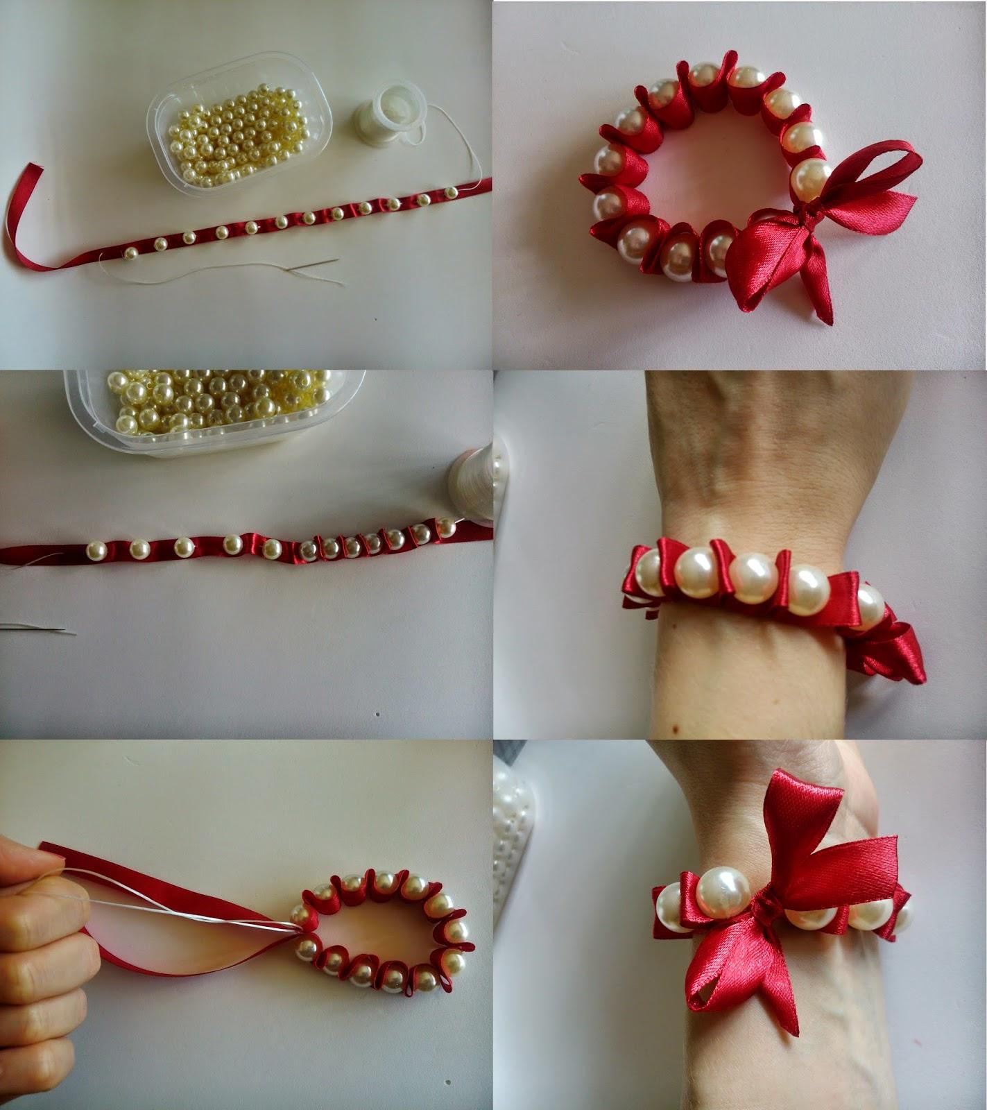 Pulsera con lazo y perlas DIY. Ideal para boda 2