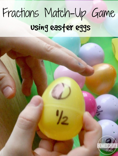Easter Egg Fractions Game - this is such a fun, clever math game to help kindergarten, 1st grade, 2nd grade, and 3rd grade students practice fractions in homeschool