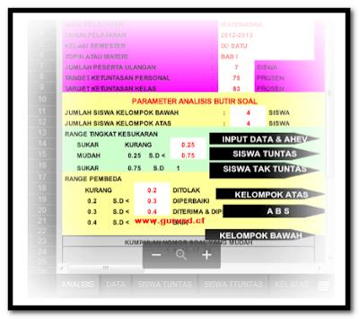 Download Aplikasi Analisis Hasil Ulangan Siswa Format Excel.Xlsx