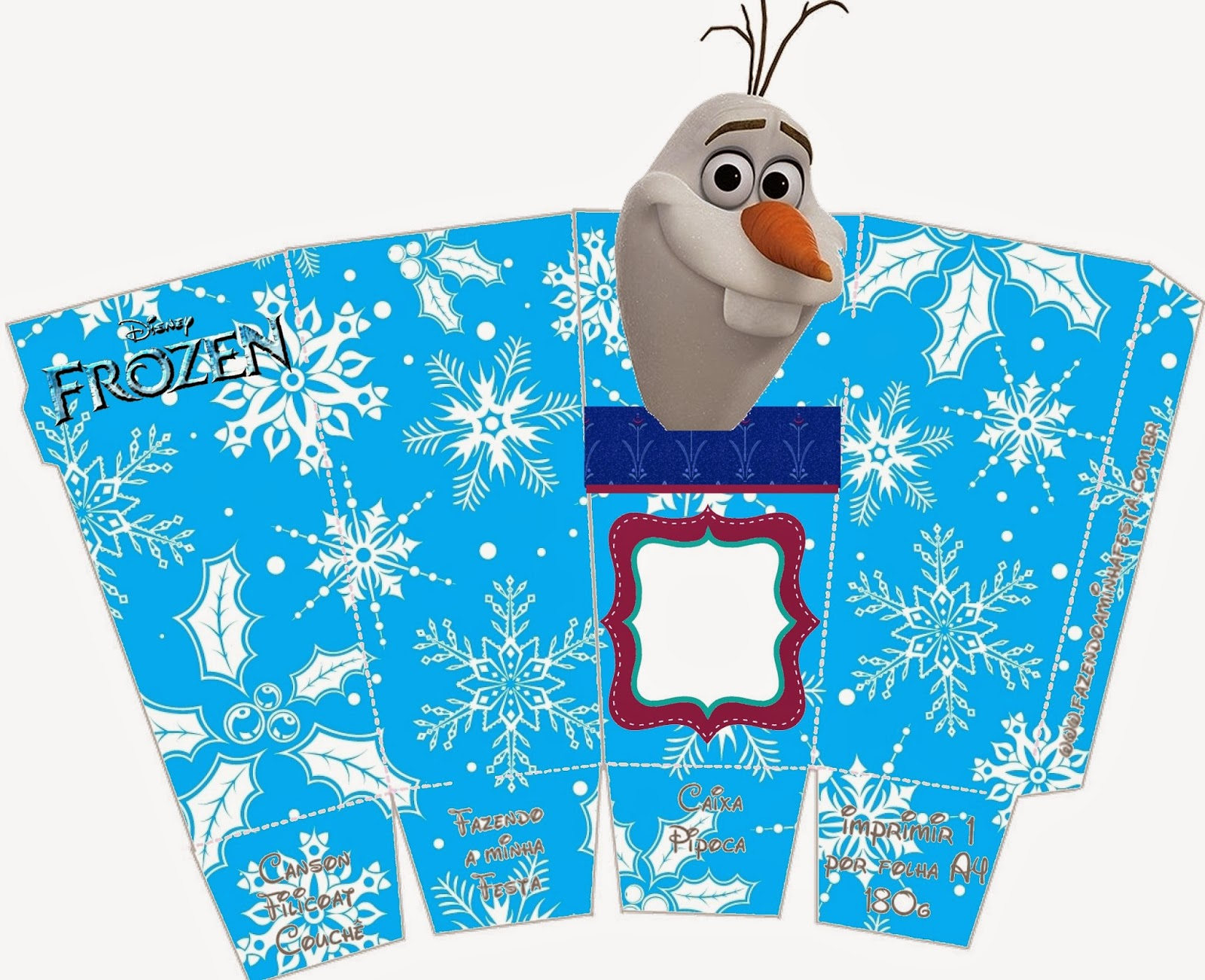Frozen: Caja de Olaf para Popcorn, para Imprimir Gratis.