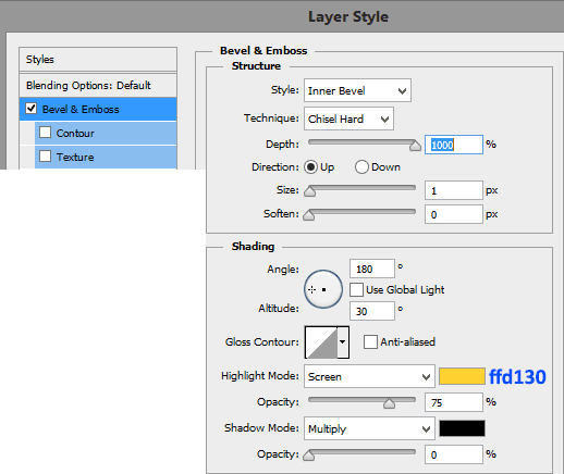 Bevel-and-emboss-settings-for-number-2-layer